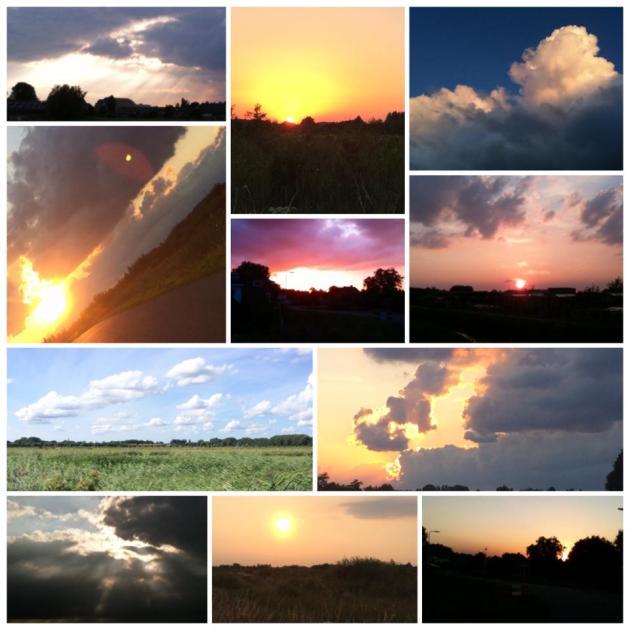 lucht, avond, ondergaande zon