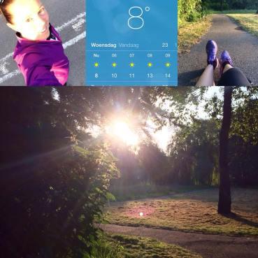 Hardlopen in het park met bomen waar de zon doorheen schijnt.