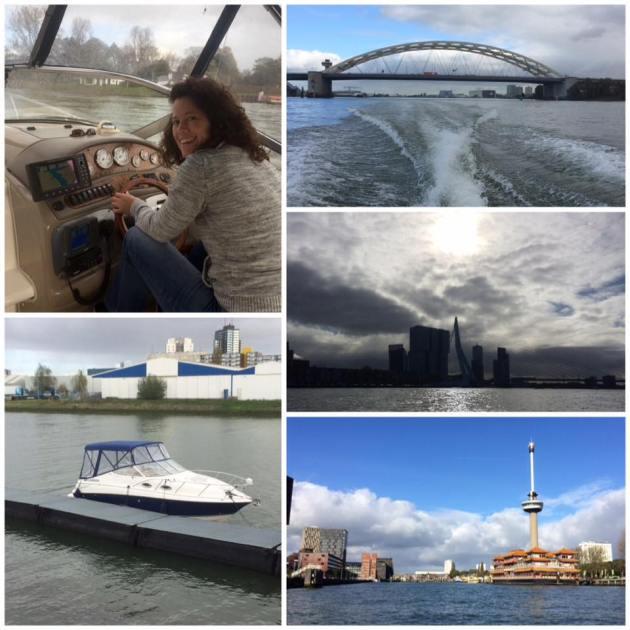 uitzicht op skyline van Rotterdam met Brienenoordbrug, Boot en Euromast.