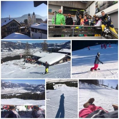 Wintersportcollage met snowboarders en skiers